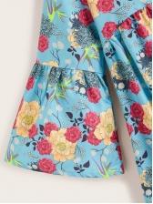 V Neck Flare Sleeve Loose Floral Blouse