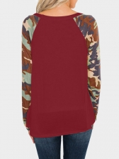 Camouflage Stitching Color T Shirts For Women