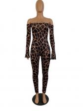Off Shoulder Animal Printed Bodysuit And Pant Set