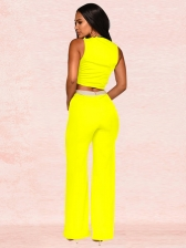 Contrast Color Sleeveless Crop Top And Pants Set