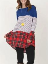 Contrast Color Loose Plaid Patchwork Striped T Shirt
