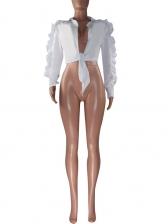 Stringy Selvedge Zipper Design Sleeve Ladies Blouse