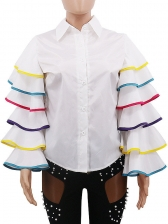 Contrast Color Tiered Ruffle Sleeve Blouse