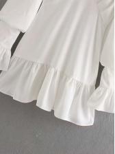 V Neck Ruffled Trim White Long Sleeve Dress