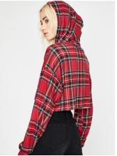 Chic Long Sleeve Plaid Cropped Hoodie