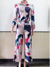 Color Block Casual Two Piece Pants Set