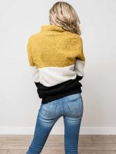Casual Stand Collar Contrast Color Fleece Sweatshirt