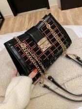 Sequined Plaid Woolen Patchwork Pu Shoulder Bags