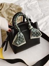 Polka Dot Silk Scarf Handle Ladies Crossbody Handbags