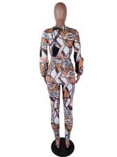Printed Skinny Long Sleeve Crop Top And Pants Set