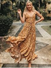 V Neck Single-Breasted Ruffled Dots Maxi Dresses
