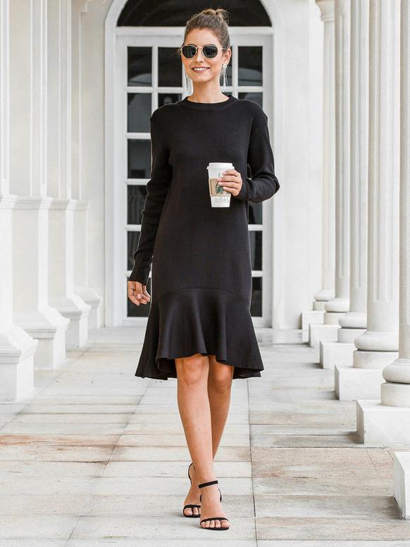 Flouncing Hem Knee Length Black Long Sleeve Dress