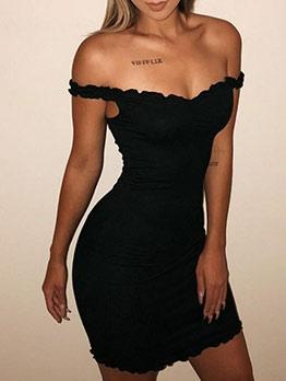 Sexy V Neck Stringy Selvedge Black Sleeveless Dress