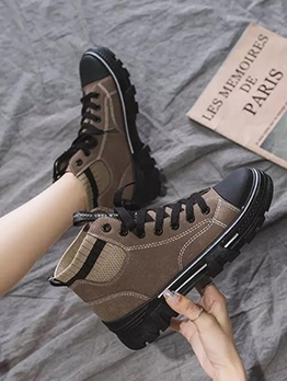 Patchwork Lace Up High Top Shoes