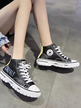 Pu Bandage Contrast Color High Top Shoes