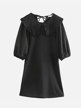 Chic Half Sleeve Women Black Dress