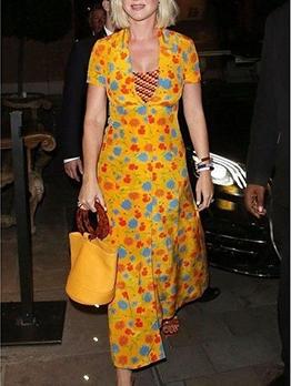 Lapel Button Down Flower Pattern Maxi Dresses