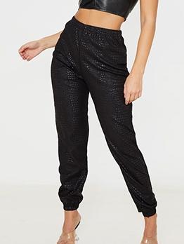 Chic Glitter PU Elastic Waist Jogger Pants