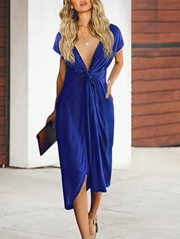 Deep V Neck Solid Twist Short Sleeve Dress