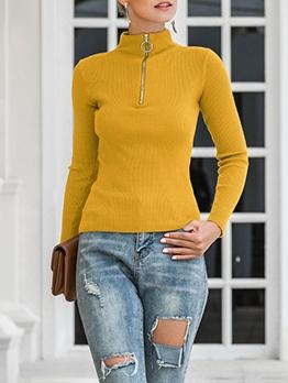 Zipper Up Mock Neck Slim Sweaters For Women