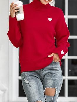 Winter Solid Heart Pattern Turtleneck Sweater