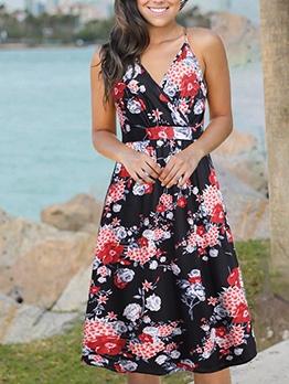 Summer V Neck Print Sleeveless Floral Dress