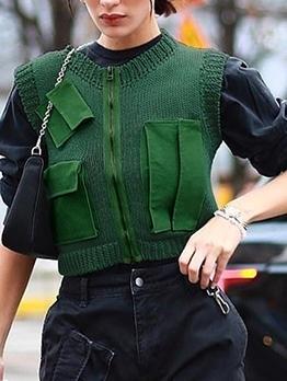 Stylish Multiple Pockets Green Short Tank Top