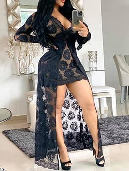 Sexy V Neck Long Sleeve Lace Maxi Dress