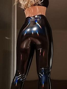 Pu Solid High Waist Tight Pants