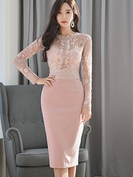 Lace Patchwork Solid Long Sleeve Bodycon Dress