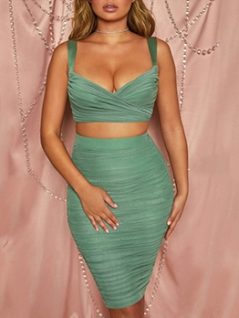 Pleated V Neck Strap Crop Top And Skirt Set
