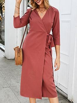 Pure Color v Neck Tie-Wrap Midi Dress