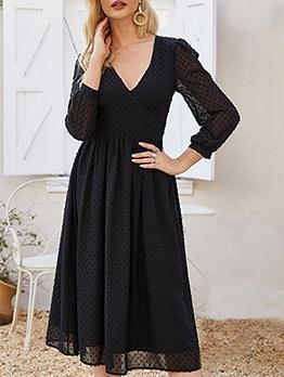 Fashion v Neck Dots Black Long Sleeve Dress