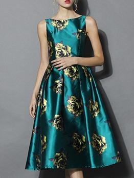 Retro Flower Printed Lustrous Sleeveless Midi Dress