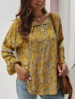 Casual Printed V Neck Long Sleeve Blouse