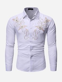 Chic Flower Print Men Long Sleeve Shirts