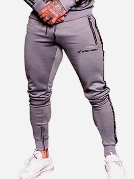 Zipper Bottom Side Letter Skinny Jogger Pants