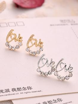 Chic Love Sparkling Rhinestone Earrings For Women