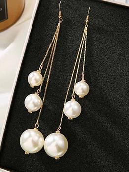 Elegant Long Faux Pearl Tassel Earrings