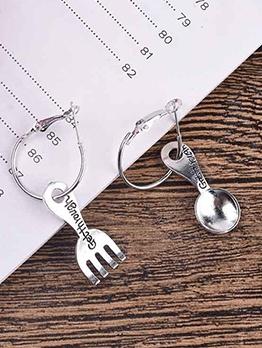Asymmetrical Spoon Fork Cute Earrings