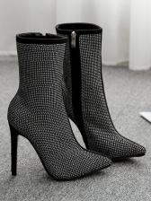 Glitter Rhinestone Pointed Ladies Boots