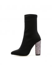Sequined Heel Black Slip On Boots