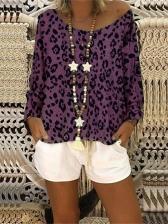 Scoop Collar Leopard Print Oversized T Shirt