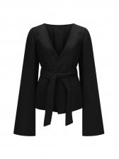 New Arrival Tie-Wrap Split Sleeve Solid Ladies Coat