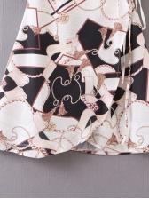 V Neck Pattern Short Sleeve Wrap Dress