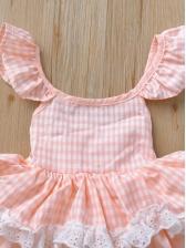 Ruffle Large Hem Plaid Pink Girls Party Dresses
