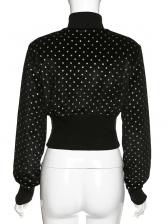 Stand Collar Dots Black Short Coat For Women