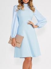 Elegant Dots StringySelvedgePatchwork Long Sleeve Dress