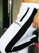 Elastic Waist Letter Printed Sporty Long Pants