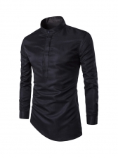 Stand Collar Solid Inclined Trim Male Shirt